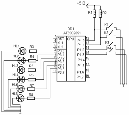 Рис. 4.5 Схема светодиодной